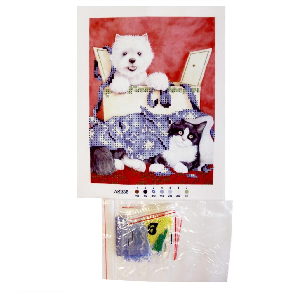 Вышивка бисером 20*25 Собака с кошкой AS235 уп.1/100 А110 ...