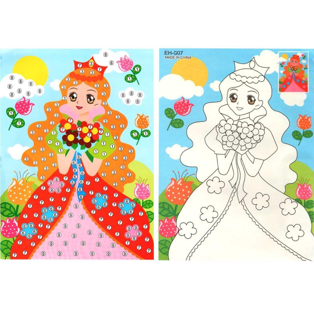 Мозаика + раскраска 19*26 Принцесса (стразы, три ...